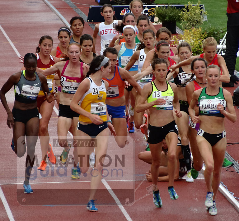 Shalane Flanagan Leads as Natasha Rogers lies on the track at 10000m Olympic Trials